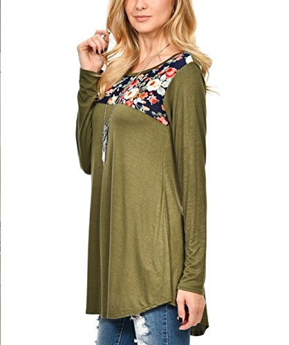 T Chemisiers Tunique Blouses Sweatshirt Moderne Shirt Verte Longues lgante Femme Shirts Haut Col Casual Imprime Vrac Mi Arme Manches en Longue Rond Tops ZW8wHTdq