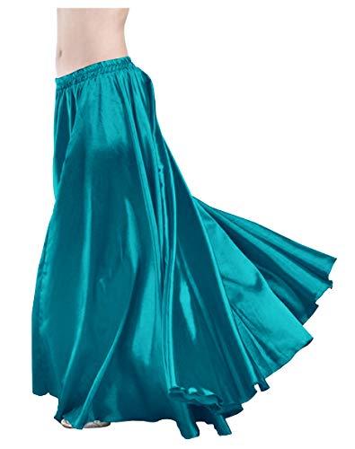 Belly Dance Circle Skirt - Indian Trendy Women's Satin Full Circle Swing Halloween Belly Dance Tribal Skirt One Size: 36