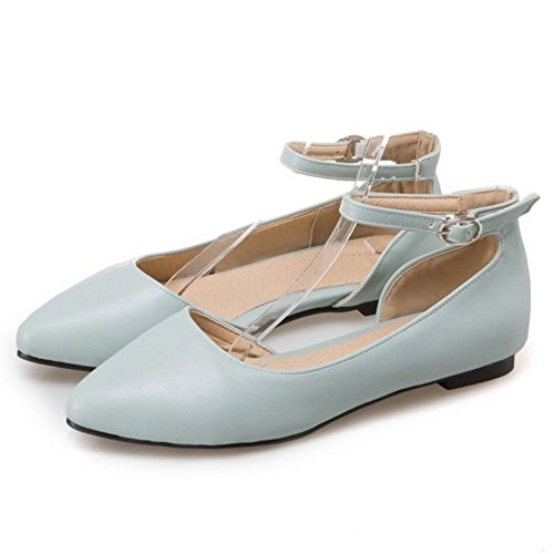 TAOFFEN Mujer Casual D'Orsay Correa de Tobillo Ballet Zapatos Hebilla Sandalias Azul