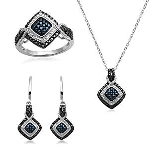 Jewelili Sterling Silver And Brass Blue, Black And White Diamond Accent Ring, Pendant Necklace And Dangle Earrings Box Set, Size 7
