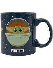 Silver Buffalo Star Wars The Mandalorian Protect Attack Snack Ceramic Coffee Mug for Cappuccino, Latte or Hot Tea, 20 Oz, Blue