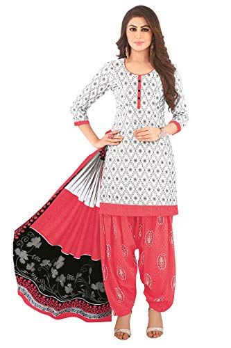 Miraan Women Cotton Unstitched Dress Material (SAN1407, White, Free Size)