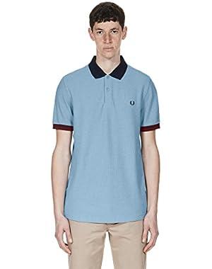 Men's Polo Shirt with Color Block Collar