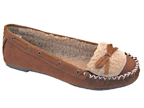 Soda-Stash-S Women's Microsuede Moccasin Slippers British Tan, 8.5 B (M) US (Trapper Moc)