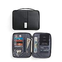 WXLAA Mulit-Purpose Travel Wallet Passport Holder Waterproof RFID Blocking Card Organiser with Hand Strap Zip,Ticket Credit Cash Holder Case, Black Large
