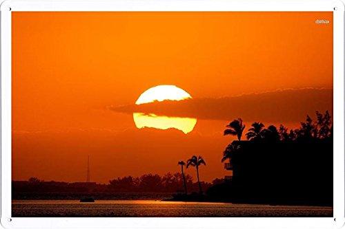 Beach Seaside Tin Sign #2039 Sunset On The Beach by Waller's Decor (7.8