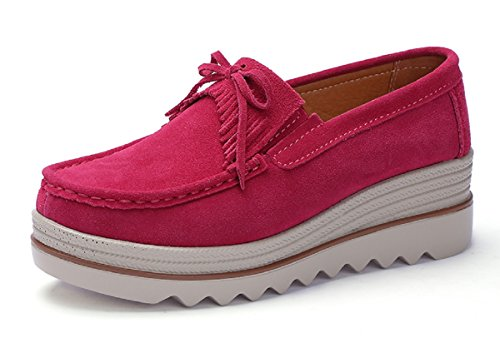 Rainrop Women Platform Slip On Loafers Shoes Comfort Suede Moccasins Fashion Casual Wedge Sneakers Rose red 39 -