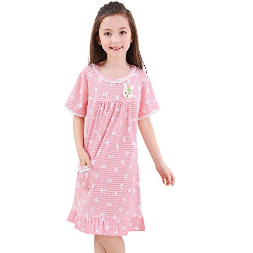 CNMUDONSI Children Pajamas Kids Girls Sleepwear Clothing Short Sleeve Summer Nightgown (1725-PD-6)