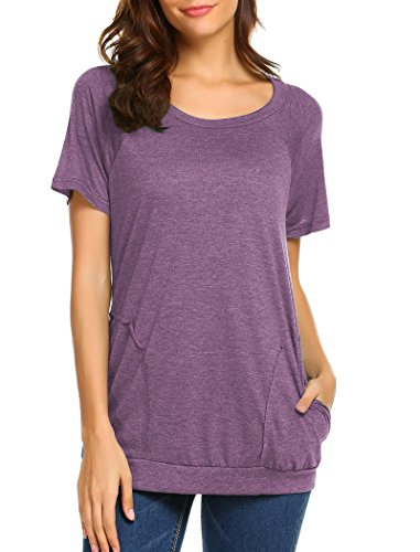 Halife Loose Fitting Tops Women Short Sleeve, Tunic Shirts Pockets Purple M