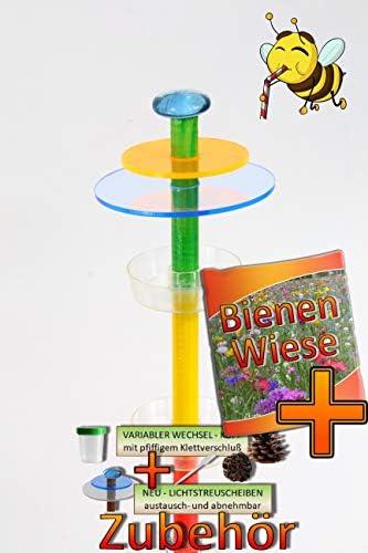 ÖLBAUM Insekten-6x-Tränkstab Tränke -BUNT3-O XXL 100 cm Bienentränke, LICHTFALLE/Scheibe BLAU-ORANGE, Bienenfutterstation für Wildbienen, Hummeln Schmetterlinge schwarz a
