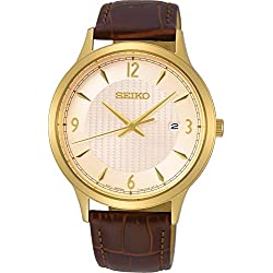 Seiko neo Classic Mens Analog Quartz Watch with Leather Bracelet SGEH86P1