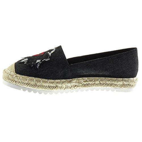 Angkorly Women's Fashion Shoes Espadrilles Mocassins - Slip-on - Sneaker Sole - Fantasy - Embroidered - Cord Flat Heel 2.5 cm Black VvSJlTwT