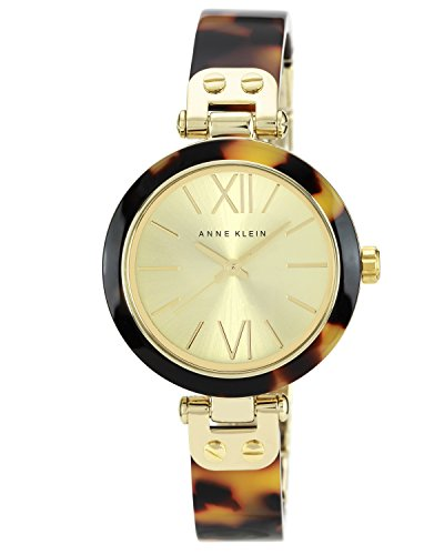 Anne Klein Women's The Belle Quartz Watch with Gold Dial Analogue Display and Brown Plastic Bangle 10/N9652CHTO