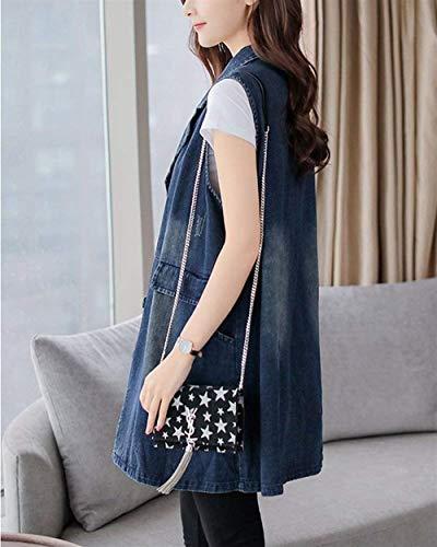 Button Donna Bavero Autunno Grazioso Taglie Primaverile Casual Forti Smanicato Moda Stlie Jeans Blu Aspicture Sciolto Gilet Elegante Laterali Tasche Giacca Lunga Giubbino xxCZqpvrw