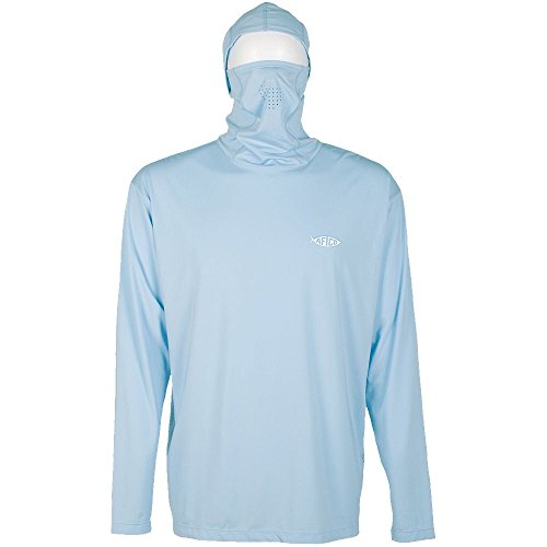 AFTCO Fish Ninja Ultra Performance Long Sleeve Shirt w/Hood - Blue - (Aftco Fish)