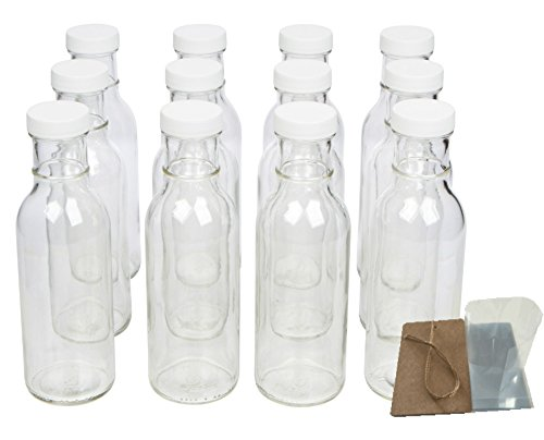 Clear Wide Mouth Glass Bottles for Beverage, Sauce and Decorations with White Lids, Safety Shrink Wrap Seals and Tags, 12 oz, Pack of 12 (Empty Salsa Bottle)