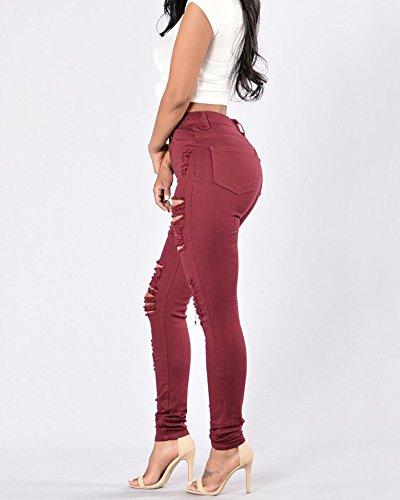 Ginocchio Pantaloni Lacerato Lunghi Denim Strappato Wine Leggings Red Jeans Sottili Donna Pants RwxqXt7O