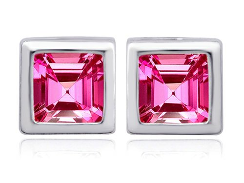 - Star K 8mm Square Cut Created Pink Sapphire Earrings Studs Sterling Silver