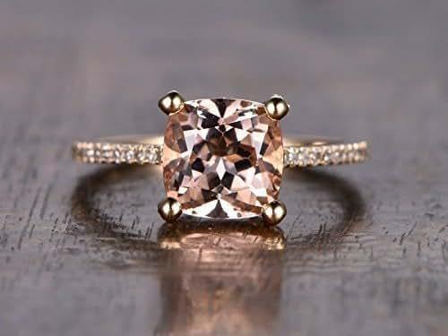 Amazon.com: Pink Morganite Engagement Ring Solid 14k Rose