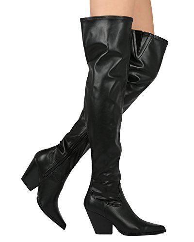 Cape Robbin Leatherette Thigh High Cowboy Boot - Dressy, Cosplay, Party - Chunky Heel Boot - GG70 Black