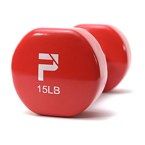 Power Systems Deluxe Vinyl Dumbbell (15-Pounds), Red