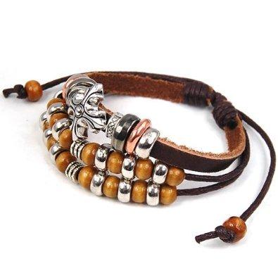 niceeshop(TM) Bohemian Cross Beads Synthetic Leather Bracelet Adjustable Size,Brown