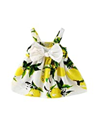 Flank Baby Girl Clothes Lemon Printed Infant Outfit Sleeveless Princess Gallus Dress (90, Yellow)