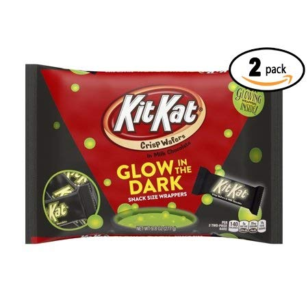 Kit Kat, Halloween Snack Size Wafer Bars with Glow in the Dark Wrappers, 9.8 Oz (Pack Of 2)