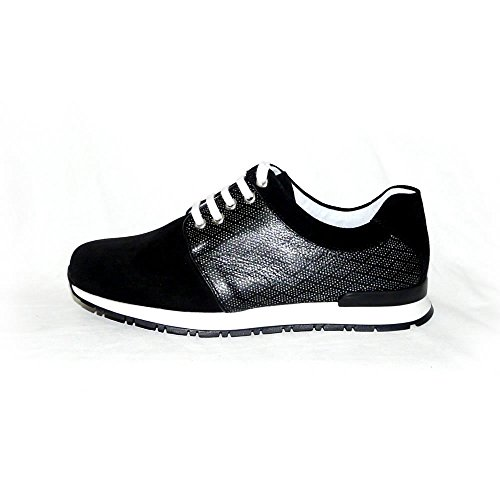 WORLAND Mod.1245 Große Zahlen 100% Made in Italy - Damenschuhe Sneaker Velours/Stoff Schwarz