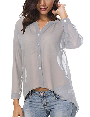 Meshieyla Chiffon Button-Down Blouse Women's Semi Sheer Basic V-Neck Casual Long Sleeve Shirt (Grey, X-Large)