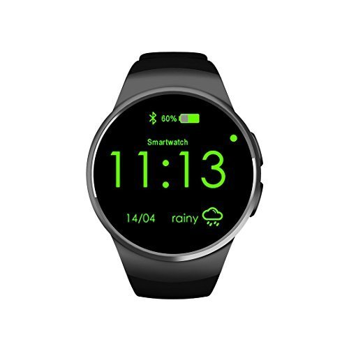 KING-WEAR KW18 Smart Watch Phone CPU MTK2502C Metal Plating OGS Capacitive Screen with Anodic Oxidation Treatment Wrist Watch ( Black)