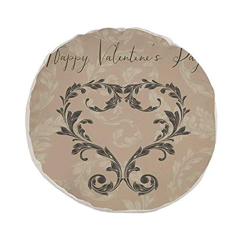 Taupe Stylish Round Throw Pillow,Happy Valentines Day Stylized Hand Writing Laurel Leaves Forming a Heart Victorian for Bedroom Living Room,Pillow Case: 17.7