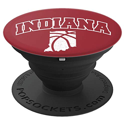 Indiana University Watch - Indiana Basketball Crimson Red White Map PopSocket - PopSockets Grip and Stand for Phones and Tablets