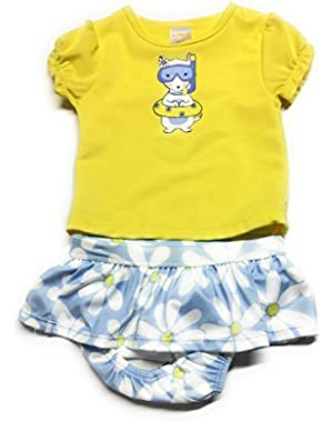 Baby Girl's Snorkel Dog 2 Piece Rash Guard Swimsuit!