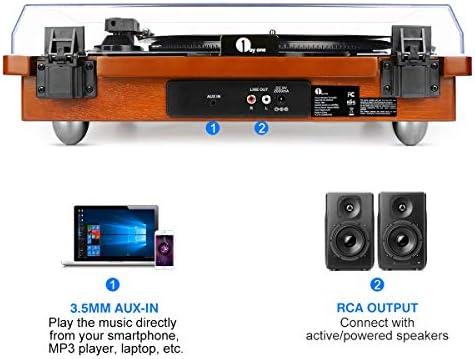 Amazon.com: 1byone - Tocadiscos con correa y altavoz estéreo ...