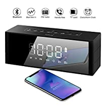 Bluetooth Speaker Alarm Radio, ZealSound Portable 10W Bluetooth Wireless Speaker with LED Clock, FM Radio, Big Sound, Bass and Large Dimmable Display,4000mAH Long Battery 24 Hours Playtime (Black)
