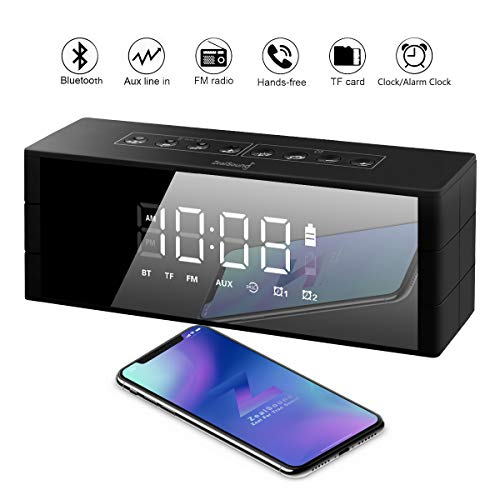 Bluetooth Speaker Led Display, ZealSound Alarm Clock 10W Bluetooth Wireless Speaker with LED Clock, FM Radio, Big Sound, Bass and Large Dimmable Display,4000mAH Long Battery 24 Hours Playtime (Black)