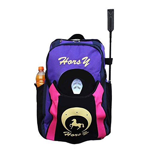 UNISTRENGH Professional Horse Riding Boot Bag Helmet Bag Parent-Child Equestrian Horse Riding Backpack with Hat Compartment (Purple, for Adult)