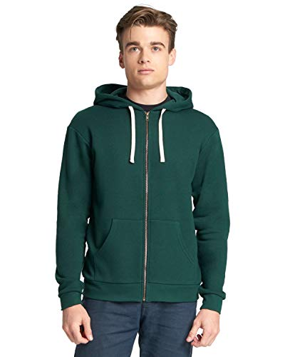 Next Level Men's 1X1 Ribbed Cuffs Zip Hoody, Forest Green, Large (Forest Ribbed)
