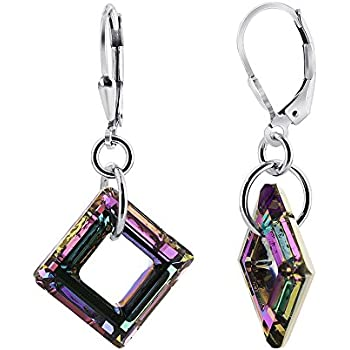Gem Avenue 925 Sterling Silver Made with Swarovski Elements Square Vitrail Light Crystal Handmade Leverback Drop Earrings