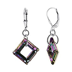 925 Sterling Silver Swarovski Elements Square Crystals Leverback Handmade Drop Earrings