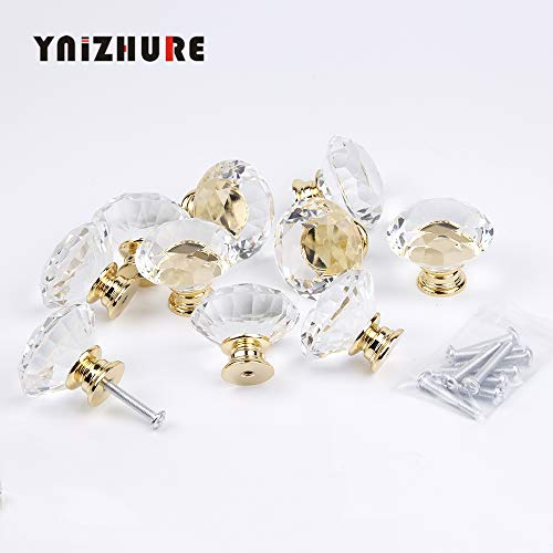 (Cabinet Pulls | 10pcs 40mm Diamond Door New Transparent Crystal Glass Pull Drawer Cabinet Furniture Handle Knob Screw Hot Worldwide Gold Base | by)