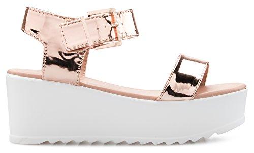 Toe Ankle Strap Shoe Women's Olivia Peep Open Platform Sandal Gold Chunky K Buckle Rose Fashion 0ZP7v