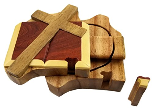 Cross & Bible All Natural Exotic Woods Puzzle Box, 4 x 5 x 2 with Sliding Wooden Key Lock, Sliding Cover and Inner Lid to Hidden Compartment. Hand-made Wood Onlay Design on Lid.