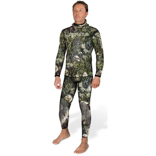 Sporasub 5mm Sea Green Mens Spearfishing Camo Suit 2 Piece Wetsuit - Top & Bottom SOLD SEPARATELY (LG-pants)