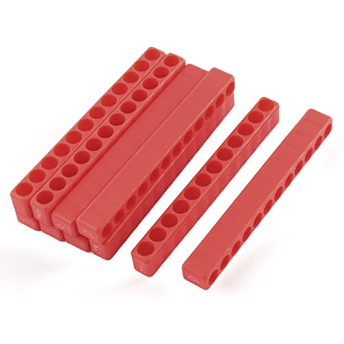 uxcell 100mm Long 7mm Dia 12-Hole Screwdriver Bit Holder Block Red 10 Pcs