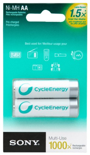 Sony Cycle Energy NHAAB2RN 1000 mAh AA Pre-Charged Batteries (2 Pack) (Cycle Energy Aa compare prices)