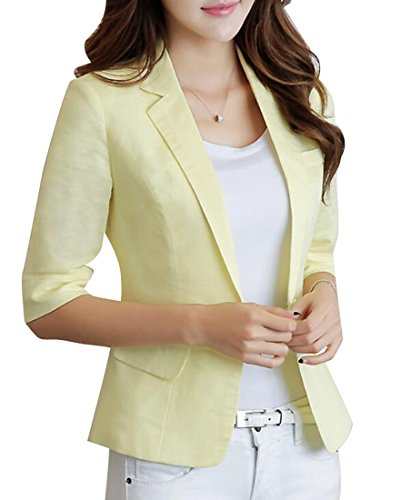 LD Womens Casual Cotton Linen 3/4 Sleeve Short Crop OL Work Blazer Jacket Coat 1 - Linen Blazer Women