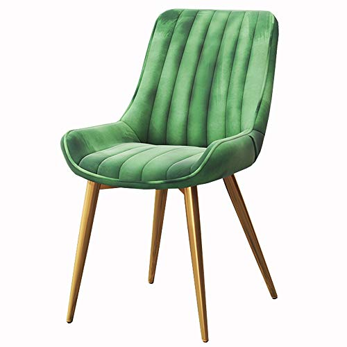 LJFYXZ Dining Chairs Modern Style Soft backrest Velvet seat Metal Legs Painted with Gold Surface Bearing Weight 150kg (Color : Green)