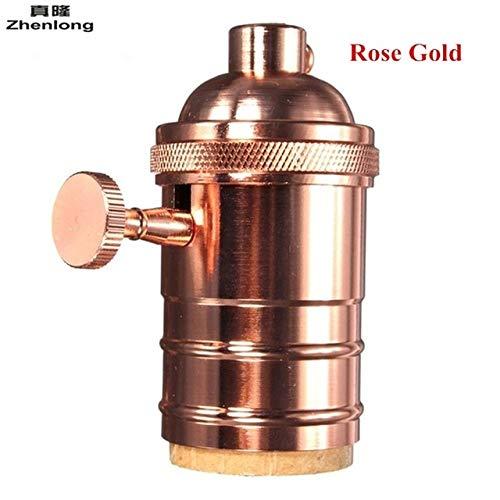 Kamas Zhenlong AC110V 220V Antique Edison Lampholder E27 Aluminium Lamp Socket Loft Vintage Retro Light Lamp Holder - (Color: Rose Gold, Base Type: E27)